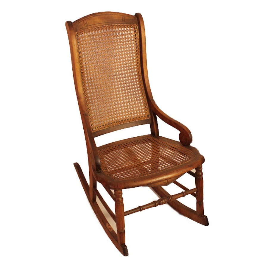 antique rocking chair with cane back and seat ebth. Black Bedroom Furniture Sets. Home Design Ideas