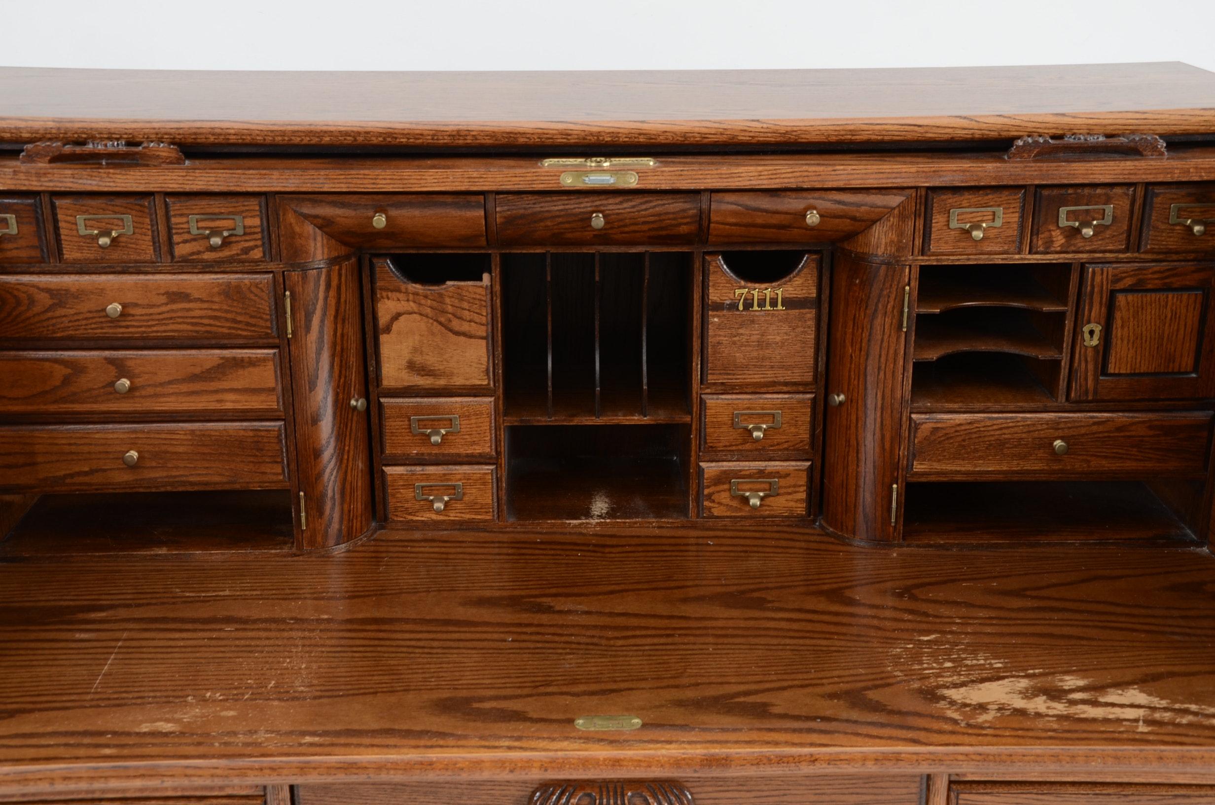Postmaster Roll Top Oak Desk Ebth