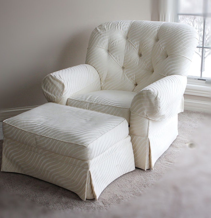 Overstuffed cream and white drexel armchair ebth for Overstuffed armchair