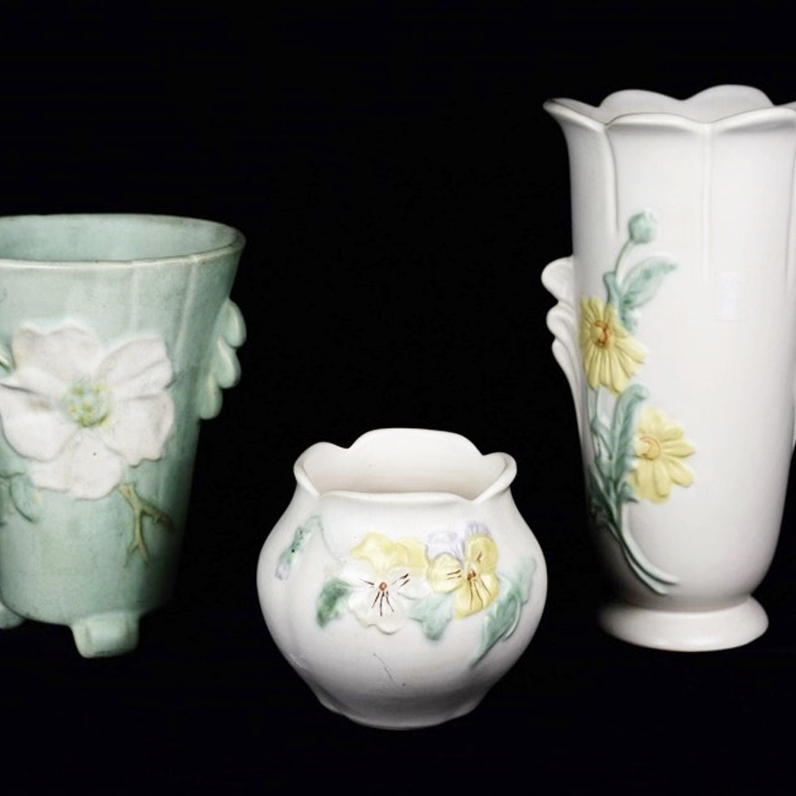 Three Vintage Weller Vases With Floral Decoration Ebth
