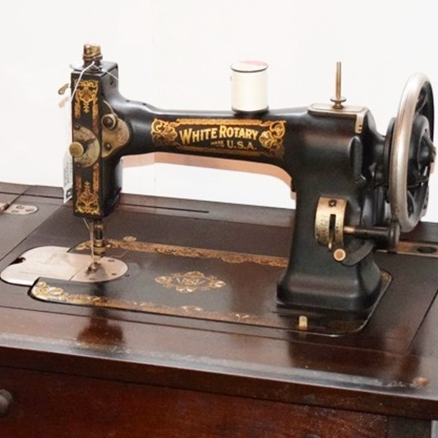Circa 40 White Rotary Sewing Machine In Cabinet EBTH Magnificent 1913 White Rotary Sewing Machine
