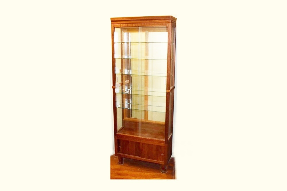 Oak Display Cabinet with Sliding Glass Doors ...