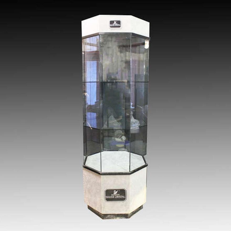 Swarovski Crystal Gl Surround Retail Tower Display Cabinet