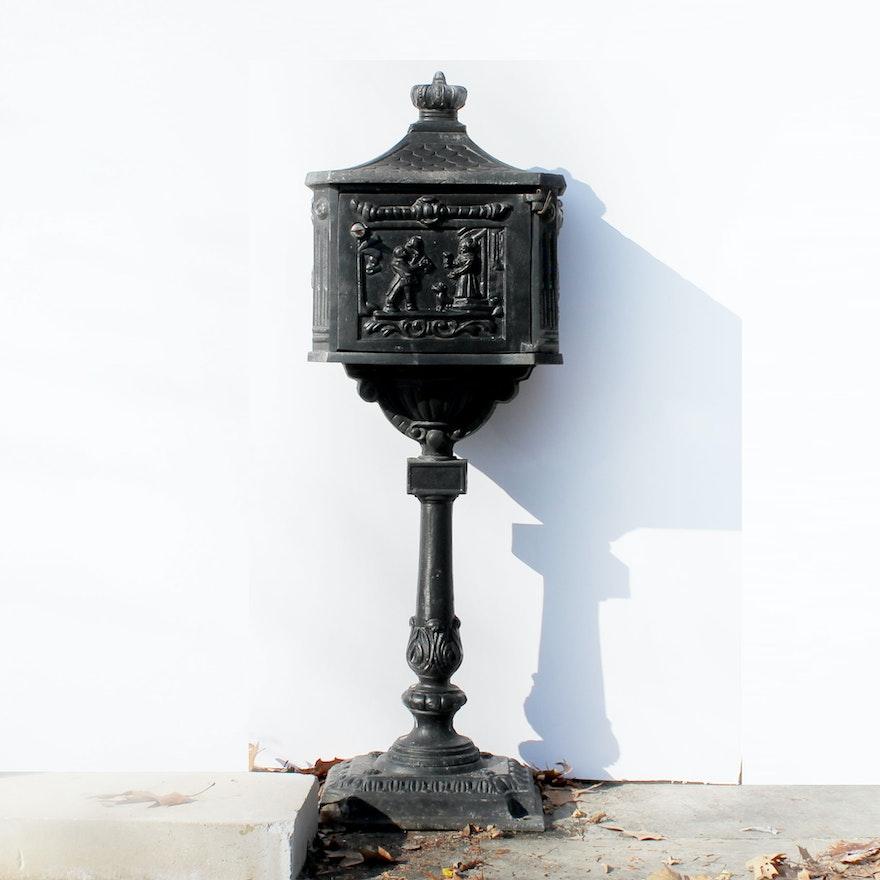 Vintage Cast Iron Mailbox On Pedestal Base