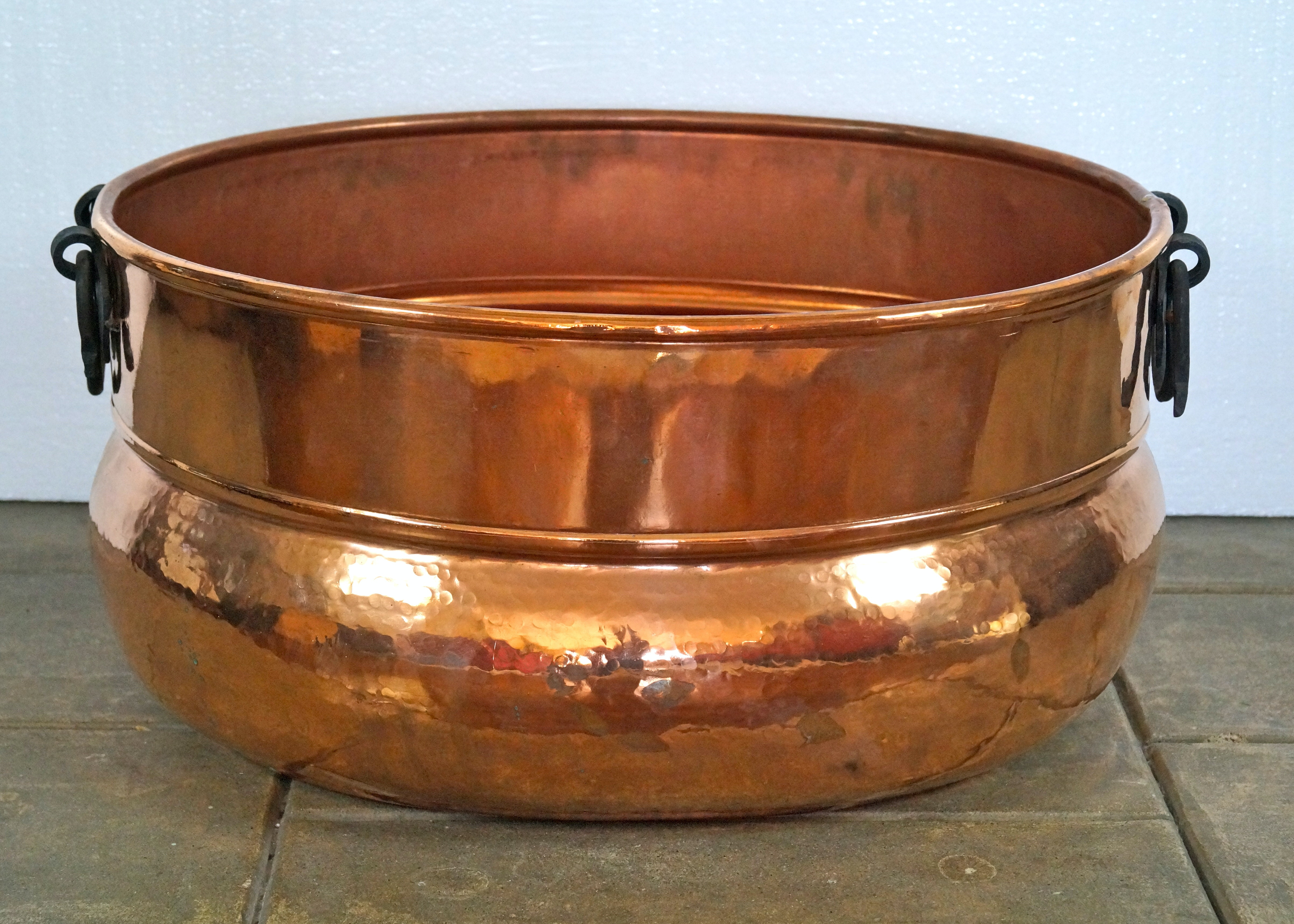 Hammered Copper Plated Beverage Tub With Wrought Iron Handles ...