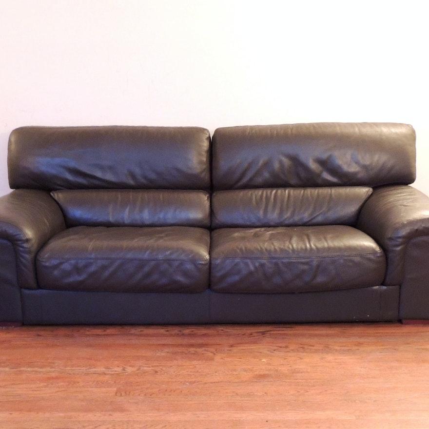 Decoro Ebony Leather Sofa Ebth