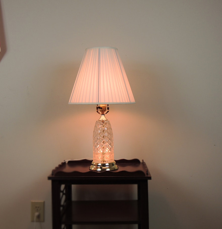 Lamps with night light - Polish Crystal Clear Table Lamp With Nightlight Base