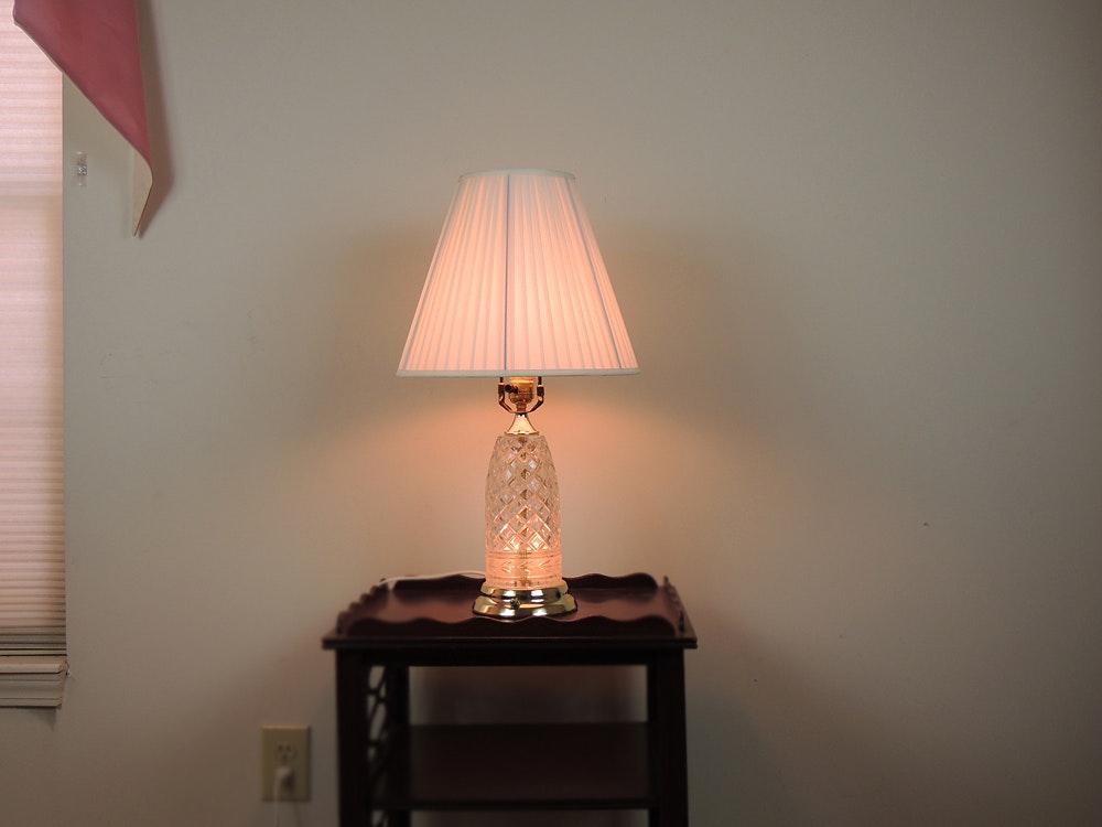 Wonderful Polish Crystal Clear Table Lamp With Nightlight Base ...