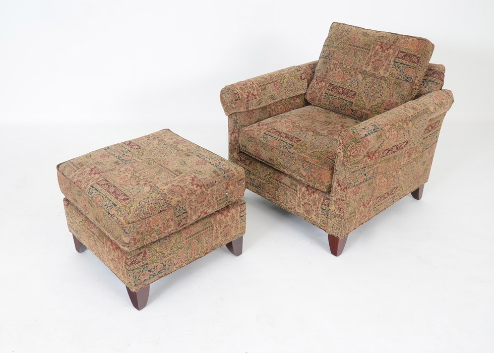 Upholstered Armchair And Ottoman By Berne Furniture ...