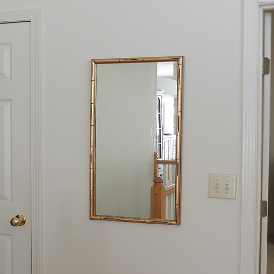 Wall Mirror with Gold Bamboo Frame : EBTH