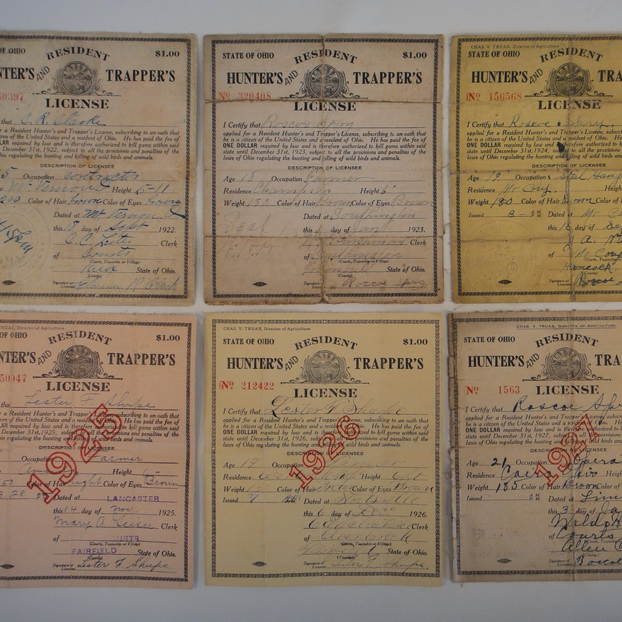 Vintage Ohio Residents Hunting License 1922-1927