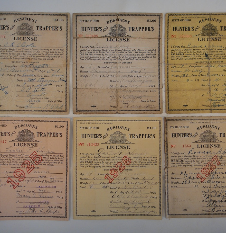 Vintage ohio residents hunting license 1922 1927 ebth for Ohio state fishing license