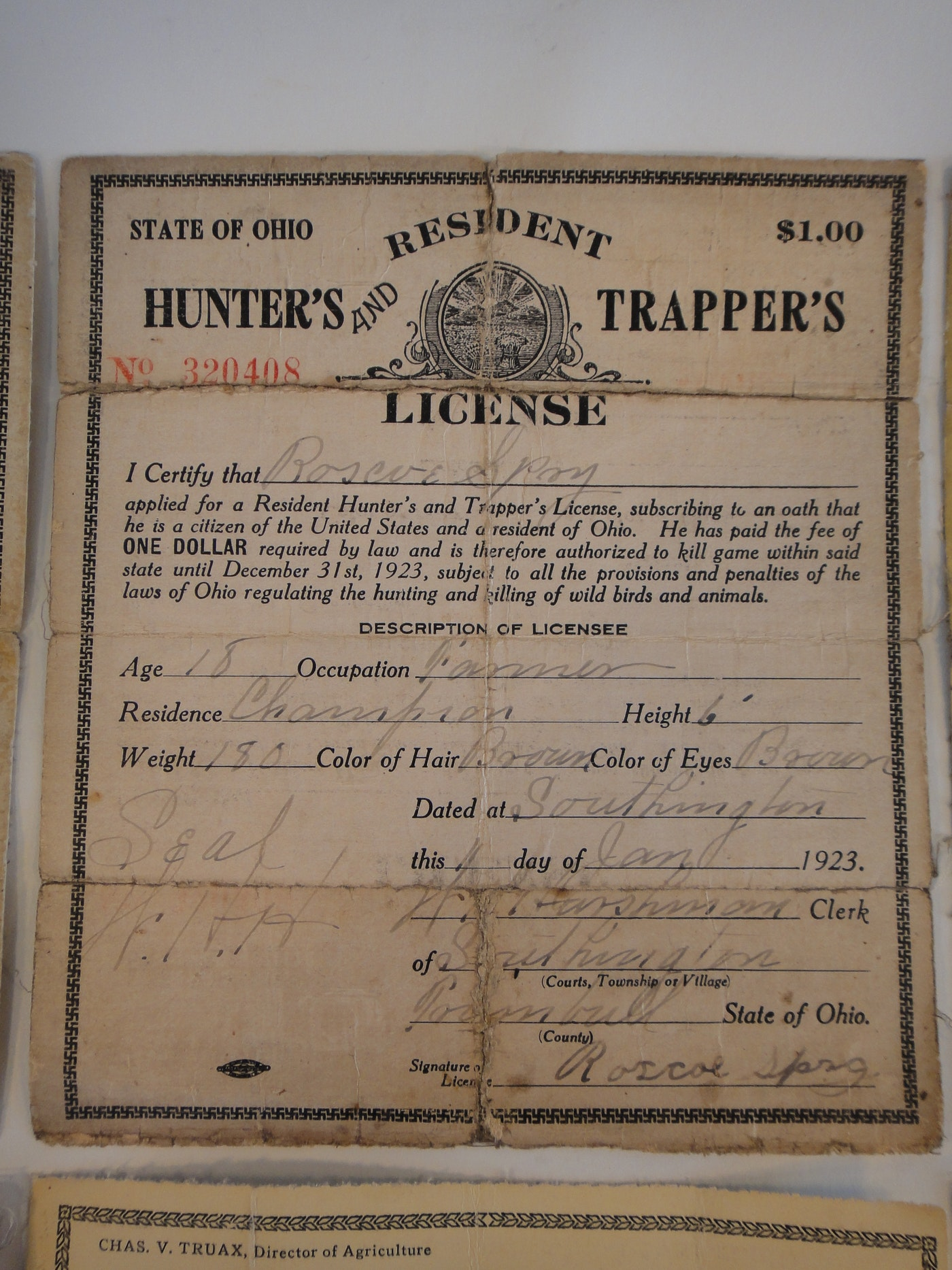 Vintage ohio residents hunting license 1922 1927 ebth for Fishing license ohio