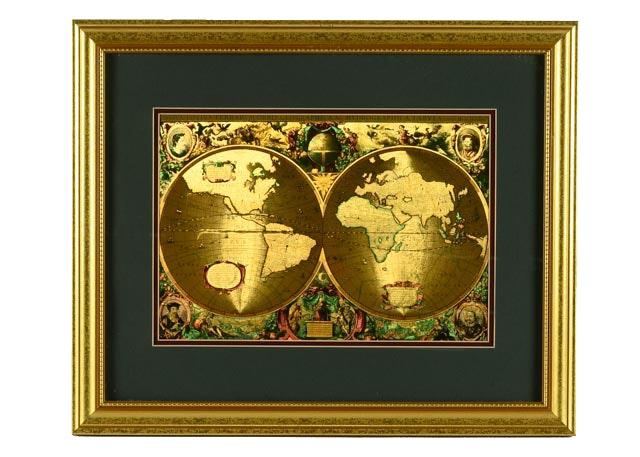 Framed Latin Gold Foil World Map Ebth