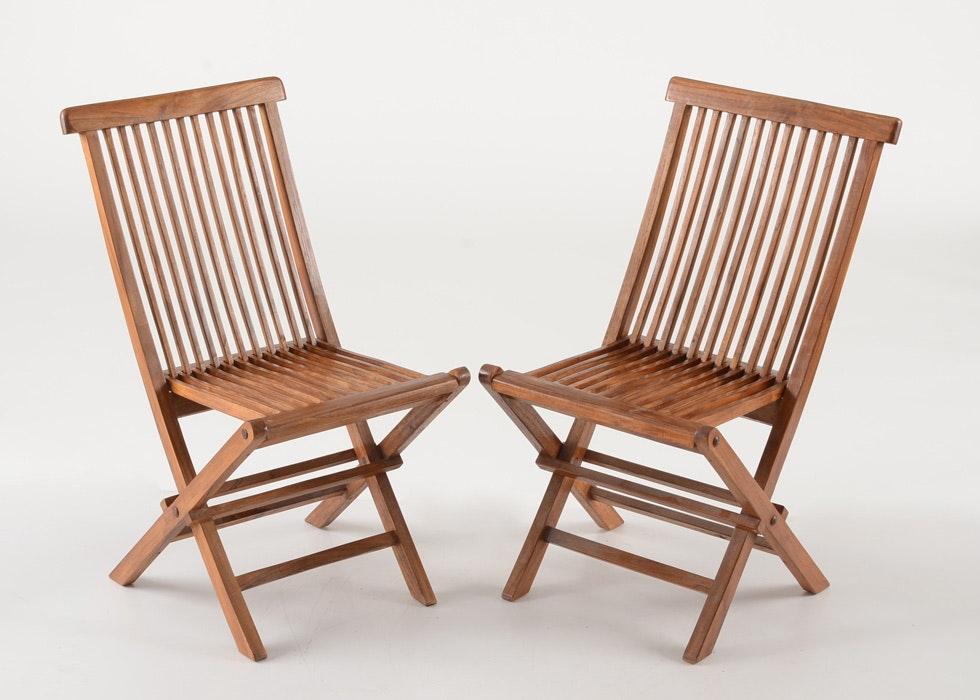 Pair Of Teak Folding Chairs ...