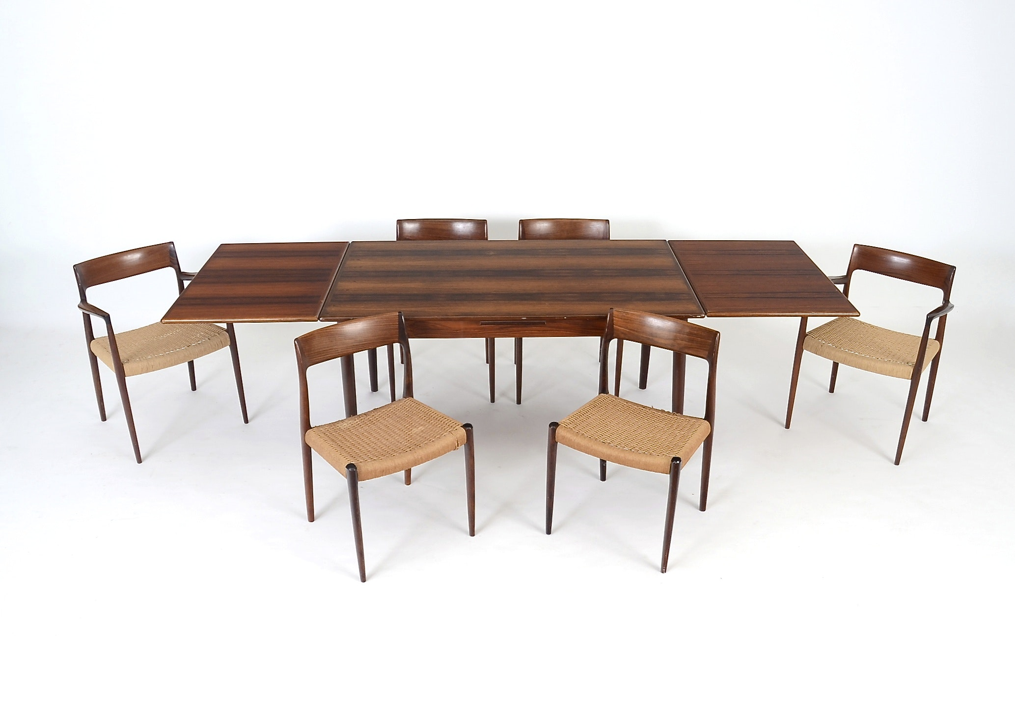 Danish Modern Table And Six Chairs