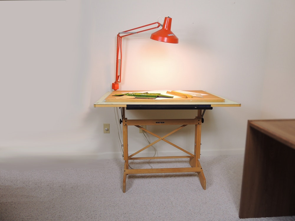 Mayline Drafting Table, Work Light And Tools ...