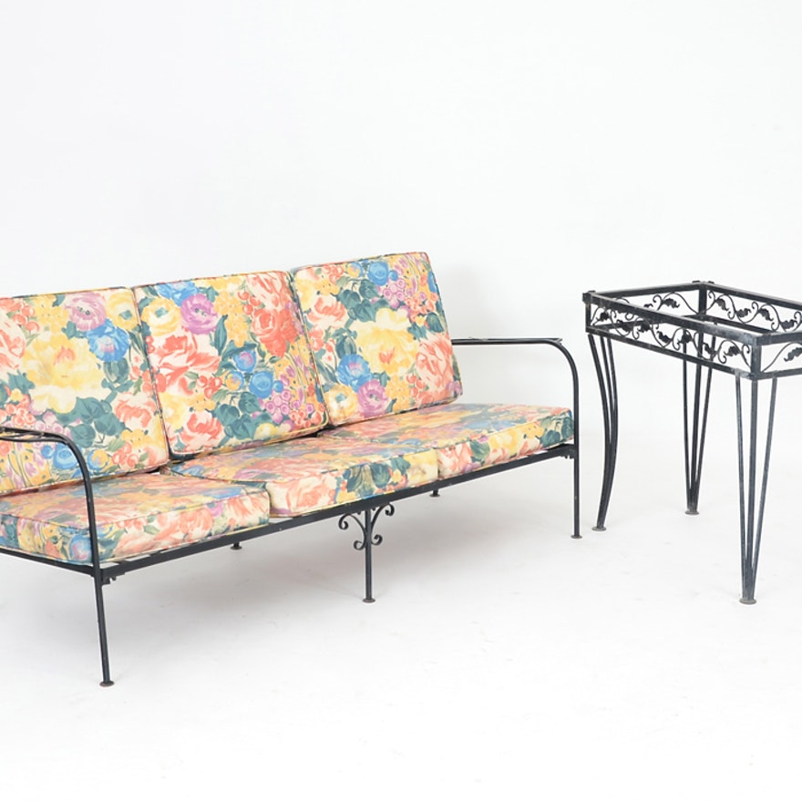 Black Wrought Iron Outdoor Couch And Tall Accent Table