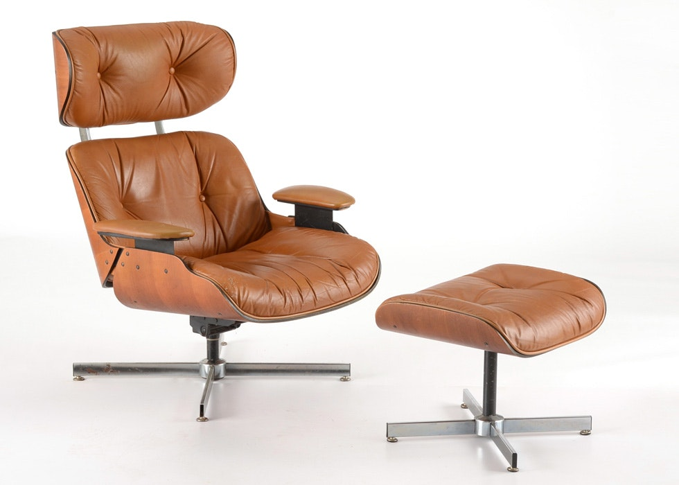 Eames Era Leather Chair And Ottoman ...
