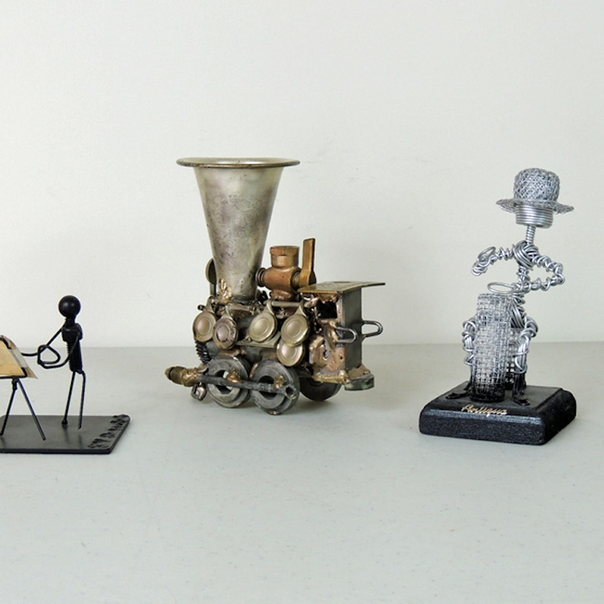 Metal Assemblage Art Sculpture and Wire Figures : EBTH