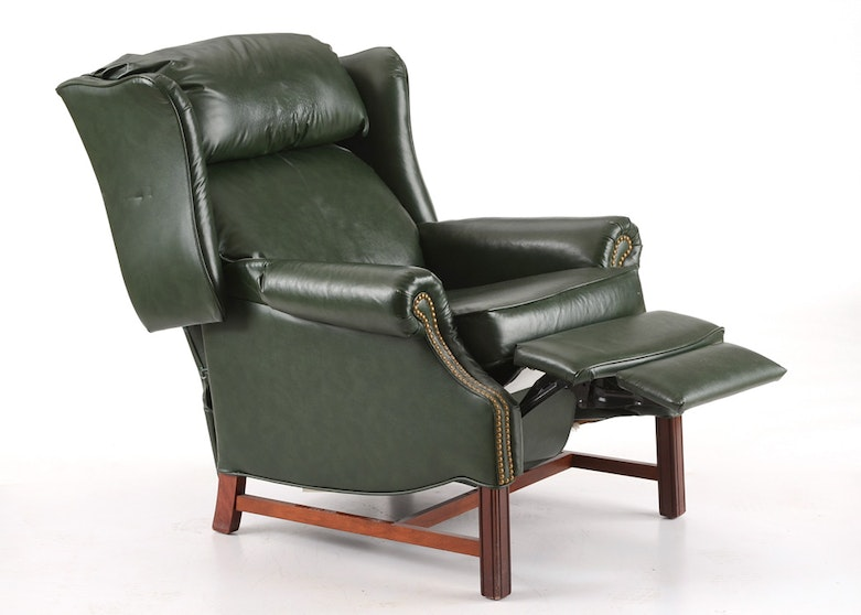 Hancock Amp Moore Green Leather Wing Back Recliner Ebth
