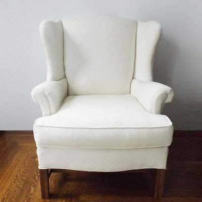 Classic Wingback Chair in White Matelasse Upholstery - Vintage Chairs, Antique Chairs And Retro Chairs Auction In East
