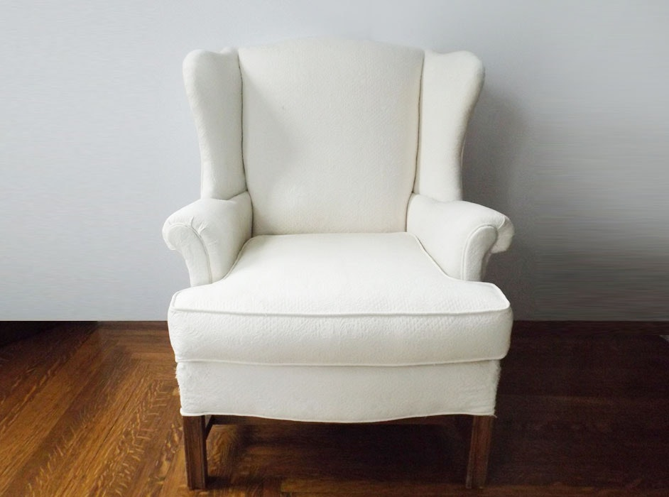 Classic Wingback Chair in White Matelasse Upholstery