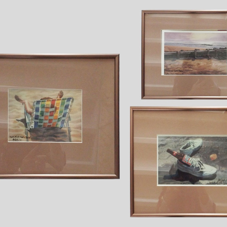Three Signed and Framed Beach Prints by Steven Jordan : EBTH