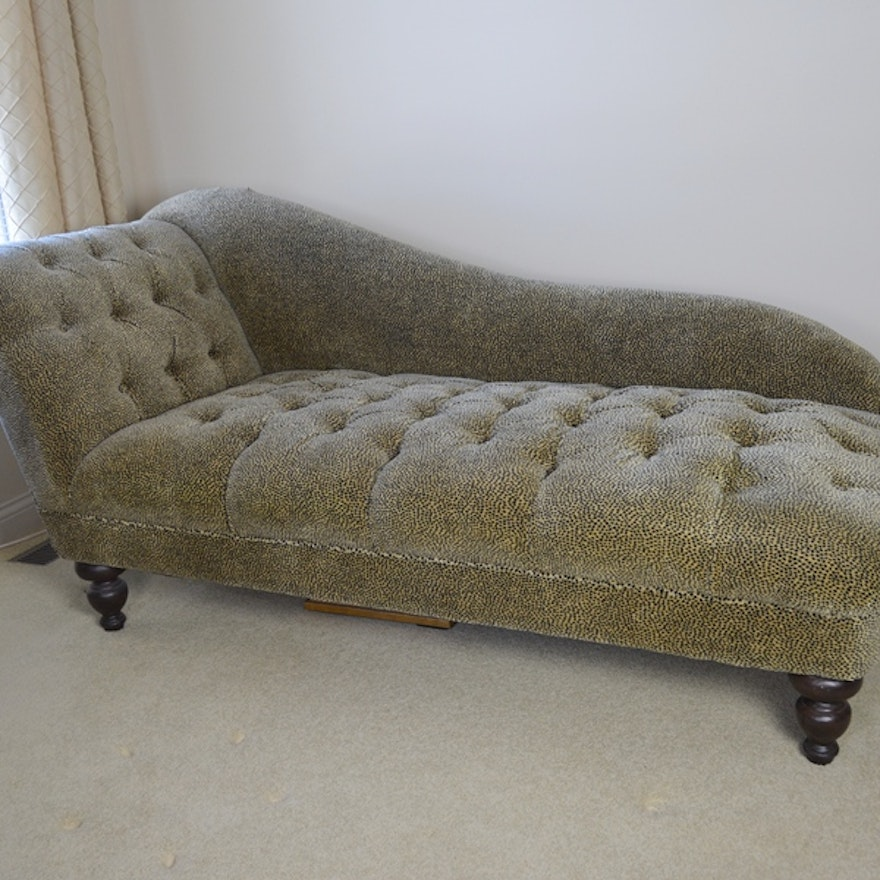 Cheetah Print Upholstered Chaise Lounge