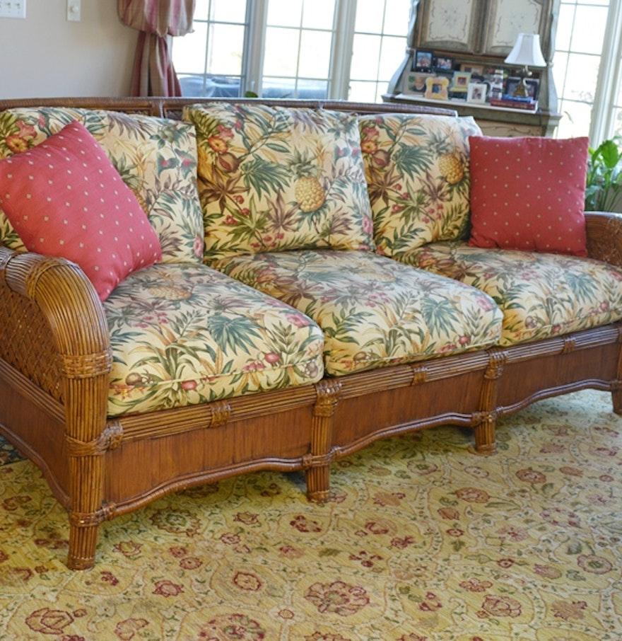 Indoor Natural Wicker Sofa By Lane Venture Ebth