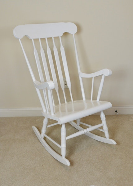 White Wood Rocking Chair ...