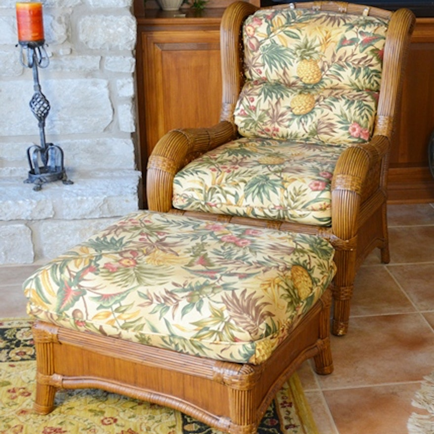 Indoor Natural Wicker Wing Chair And Ottoman By Lane Venture