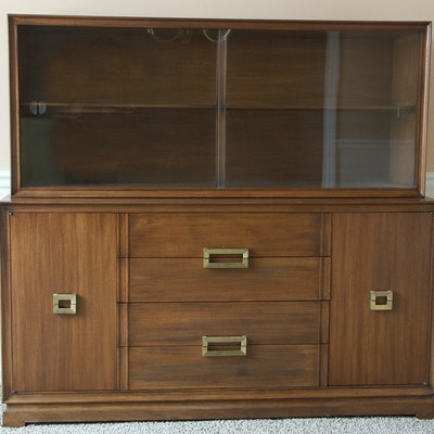 Mid Century Modern Walnut Server/Glass Top Cabinet - Online Furniture Auctions Vintage Furniture Auction Antique