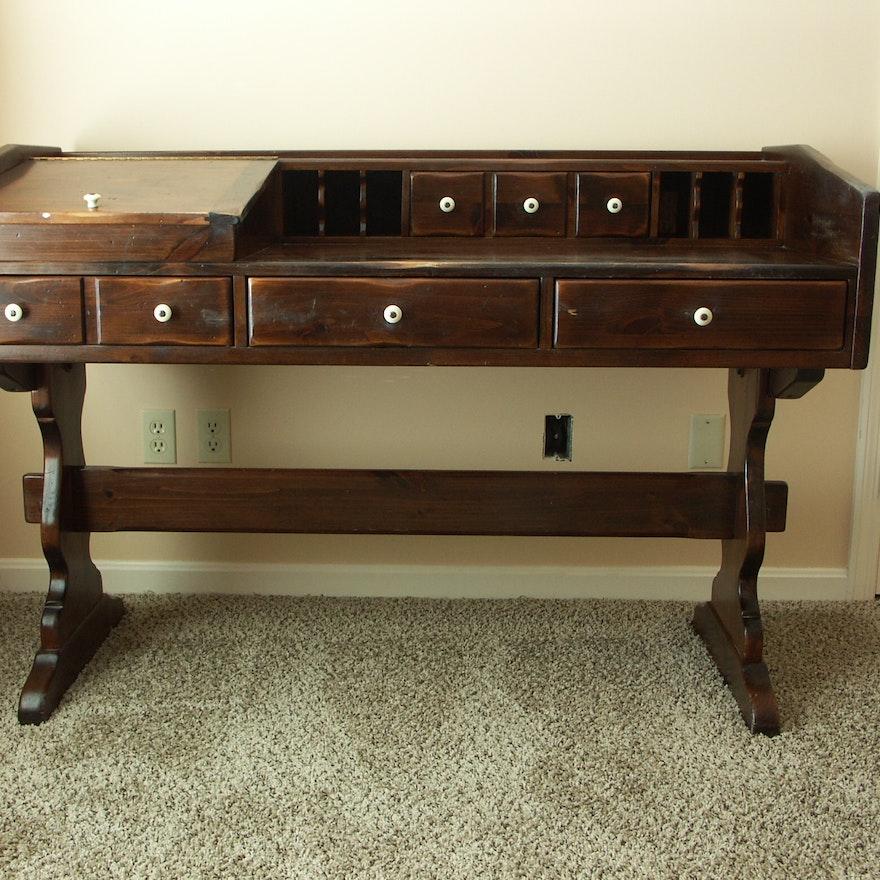 Vintage Ethan Allen Pine Trestle Style Desk Ebth