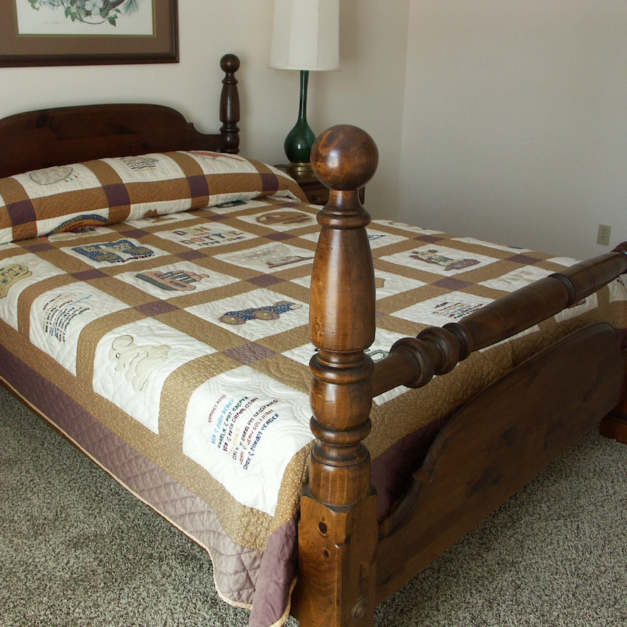 Queen Size Pine Cannonball Bed Ebth