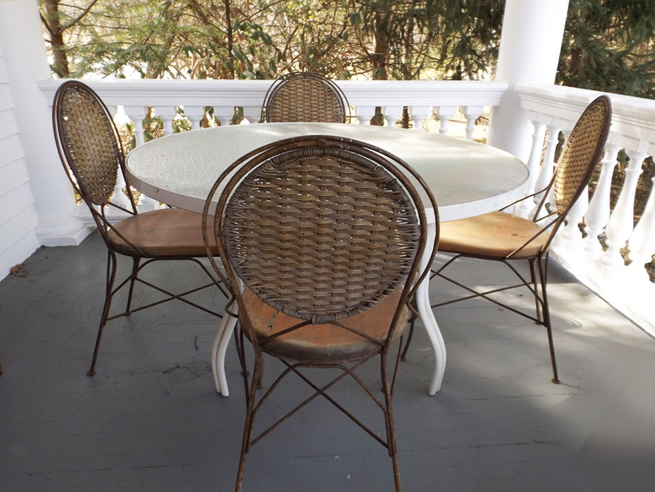 Vintage French Bistro Table and Four Chairs
