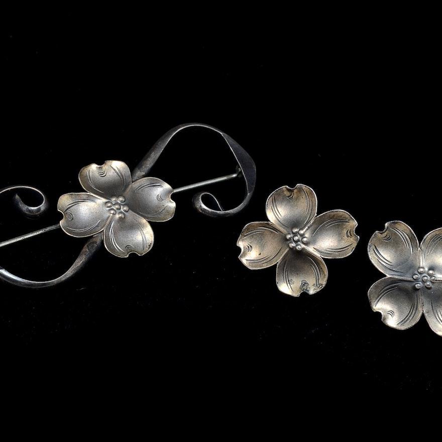 Stuart Nye Sterling Dogwood Flower Jewelry Ebth