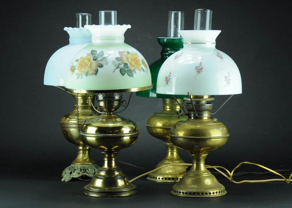 Four Handsome Electrified Antique Brass Kerosene Lamps ...