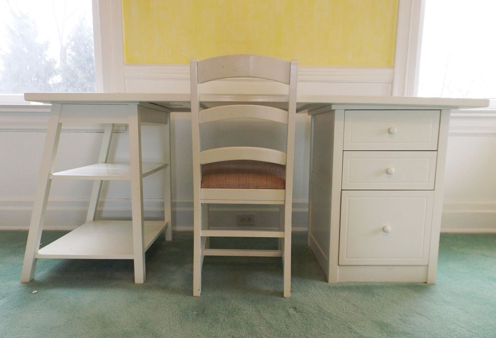 White Laminate Desk and White-Painted Chair