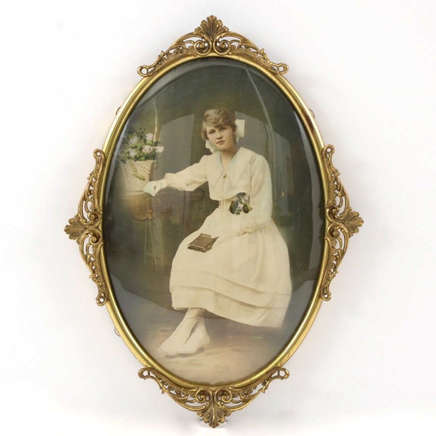 Hand Tinted Photograph In Gilt Oval Frame With Convex Glass Ebth