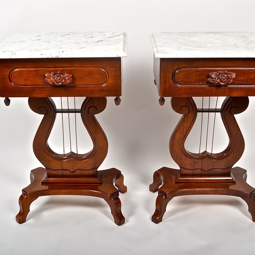 Cherry Marble Top Coffee Tables: Vintage Cherry, Lyre-Base, Marble Top Tables
