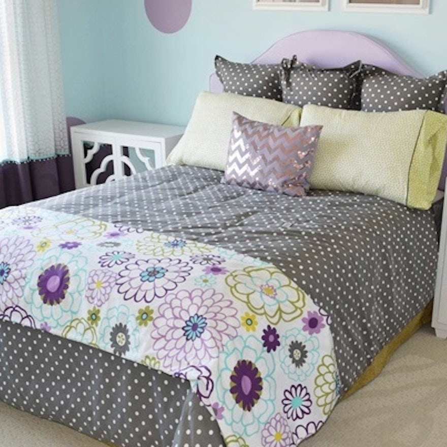 Queen Size Bed With Lilac Headboard And Polka Dot Bedding Ebth