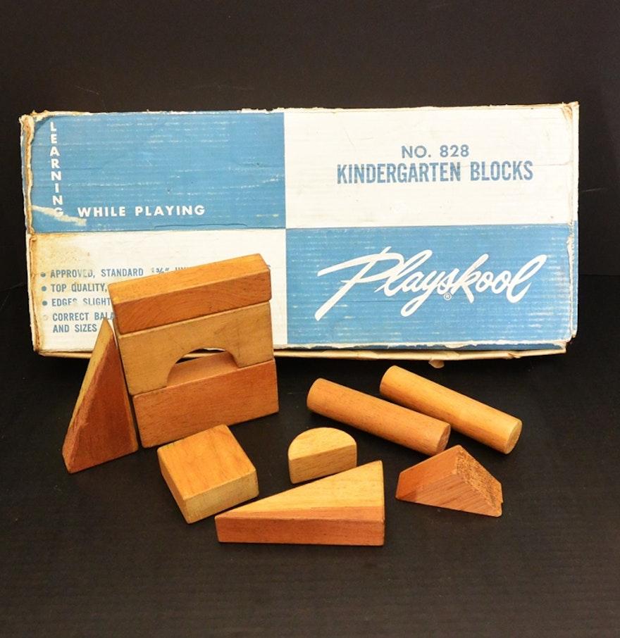 Complete Set Mid Century Playskool Kindergarten Blocks