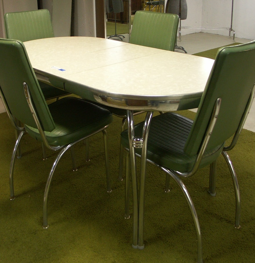 1950s kitchen table and chairs - 1950 S Retro Howell Chrome Table And Four Chairs