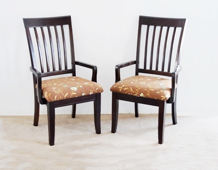 Pair Of Host Chairs With Embroidered Upholstery At Seat