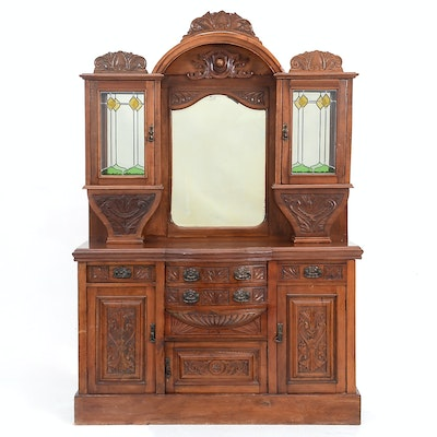 English Victorian Walnut Buffet - Online Furniture Auctions Vintage Furniture Auction Antique