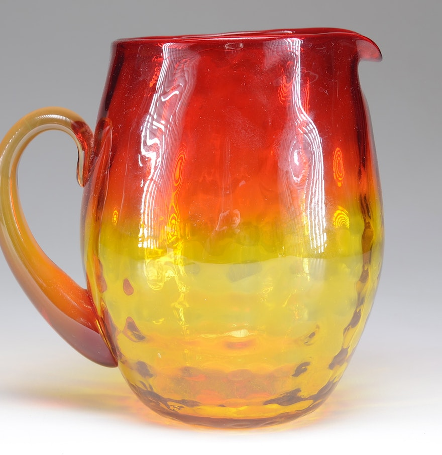 amberina pitcher glass ebth ended