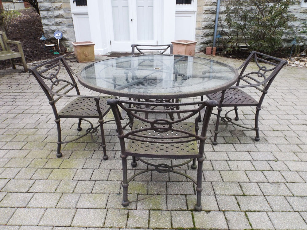 Classic Outdoor Iron and Glass Dining Table with Four Iron Chairs