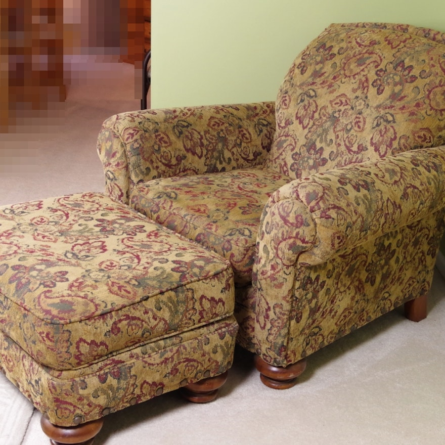 Broyhill Overstuffed Upholstered Chair And Ottoman Ebth
