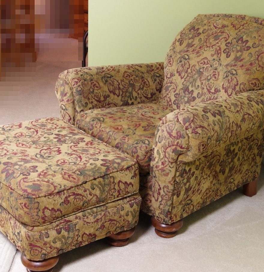 Broyhill Overstuffed Upholstered Chair and Ottoman EBTH – Upholstered Chair with Ottoman